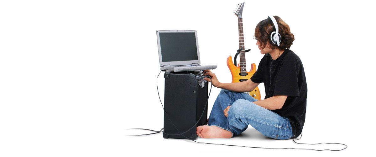 Guitar player doing ear training