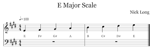 Listen to the E Major scale. (click to view interactive score)