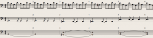 Frequency Basica: Score - note the bass overlap!